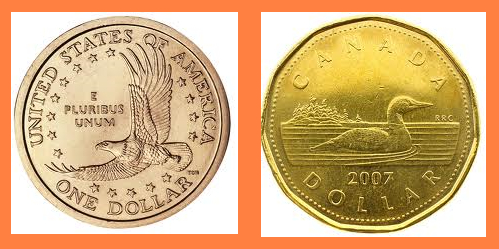 Canadian and U.S. dollar coins
