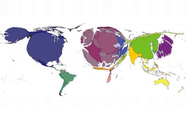 World Map Proportionate to Publishing