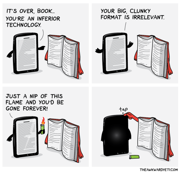 Books cartoon at The Awkward Yeti
