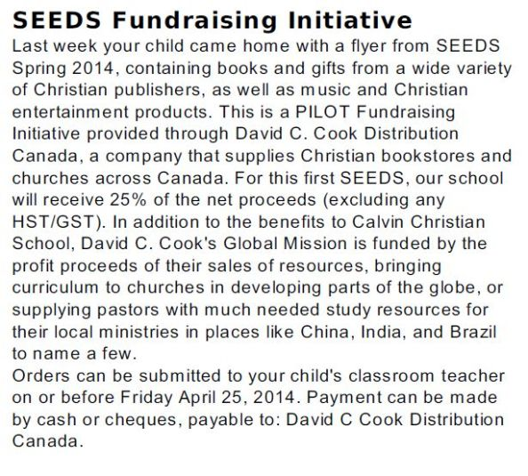 Seeds Fundraising David C. Cook