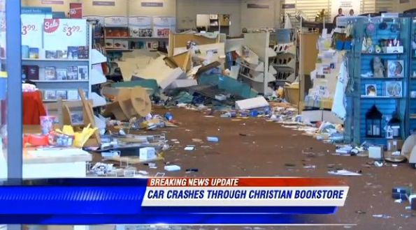 Car Crashes Through Christian Bookstore